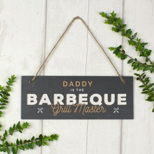 """Barbeque Grill Master"" Printed Hanging Slate Plaque"